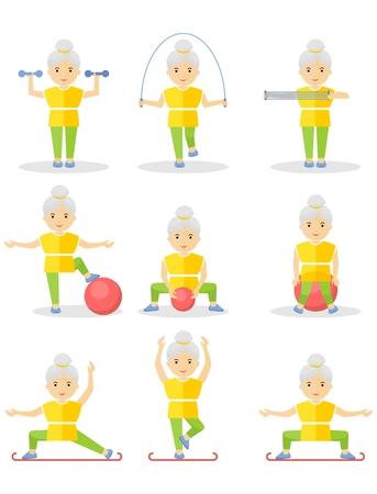 高齢者の女性は、体操を行っています。ジムでの運動器具で練習。フラットのベクトル図を漫画します。