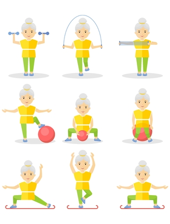 An elderly woman is engaged in gymnastics. Exercises with exercise equipment in the gym. Cartoon flat vector illustration. Illustration
