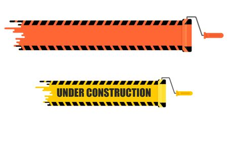 vector sign under construction: Bright stripe painted on a wall paint roller. Warning sign under construction. Cartoon flat vector illustration. Objects isolated on a white background.