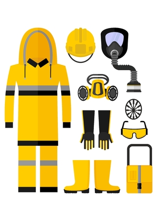 safety equipment: Set of protective equipment. Work clothes for chemical protection.Cartoon flat vector illustration. Objects isolated on a background.