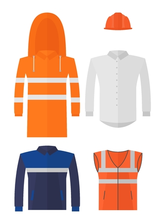 personal protective equipment: Set of different kinds protective work wear.Conceptual image of work wear.Cartoon flat vector illustration. Objects isolated on a background. Illustration