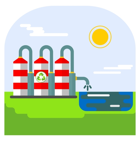 environmen: Environmentally friendly plant save water. Ecology design concept with air, water and soil pollution. Flat icons isolated vector illustration. Illustration