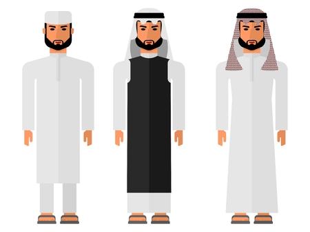 sheik: Arabic man in national costume. Muslim Islamic traditions.Cartoon characters icon stylish background.Cartoon design flat vector illustration Illustration