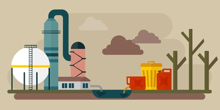 environmen: Building industrial plants polluting the environment. Toxic waste from oil extraction. Ecology design concept with air, water and soil pollution. Flat icons isolated vector illustration.
