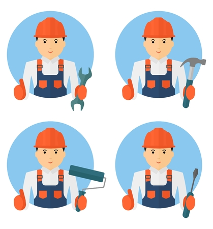 Industrial workers: Set of young cheerful worker in overalls with tools for repair and construction. Conceptual image of work wear.Cartoon flat vector illustration. Objects isolated on a background. Illustration