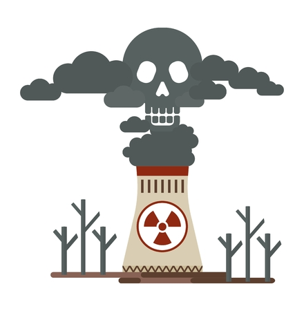 environmen: Thermal power stations allocates toxic emissions. Deadly smoke in the air. Poisonous plant emissions poison the atmosphere. Ecology design concept with air, water and soil pollution. Flat icons isolated vector illustration.