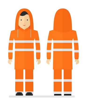 personal protective equipment: Worker in protective orange raincoat with reflective tape. Conceptual image of work wear.Cartoon flat vector illustration. Objects isolated on a background.