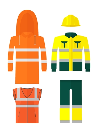 casque: Set of different kinds protective work wear. Conceptual image of work wear.Cartoon flat vector illustration. Objects isolated on a background.