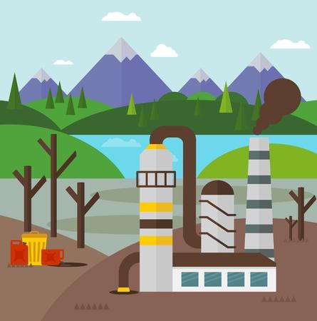 residuos toxicos: La construcci�n de plantas industriales que contaminan el medio ambiente. residuos t�xicos procedentes de la extracci�n de petr�leo. Ecolog�a concepto de dise�o con el aire, el agua y la contaminaci�n del suelo. iconos planos aislados ilustraci�n vectorial. Vectores