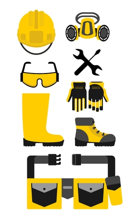 protective equipment: Set of protective equipment. Cartoon flat vector illustration. Objects isolated on a background.