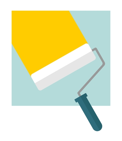paint roller: Bright stripe painted on a wall paint roller. Cartoon flat vector illustration. Objects isolated on a background.