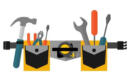 Ceinture avec l'image tools.Conceptual d'outils pour la réparation et la construction. Cartoon vecteur plat illustration. Objets isolés sur un fond. Vecteurs