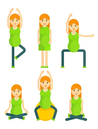 pregnancy yoga: Pregnant women in the yoga poses.Cartoon flat vector illustration. Objects isolated on a background.
