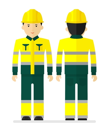casque: Worker in yellow work protective suit with reflecting tape. Conceptual image of work wear.Cartoon flat vector illustration. Objects isolated on a background. Illustration