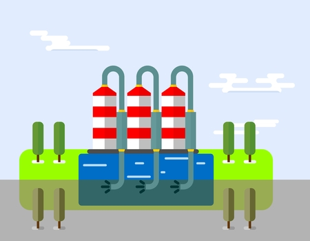 pollute: ?hemical plant pollute the atmosphere. Ecology icons. Ecology icons set. Ecology icons flat. Ecology icons illustration. Cartoon flat vector illustration. Objects isolated on a background.