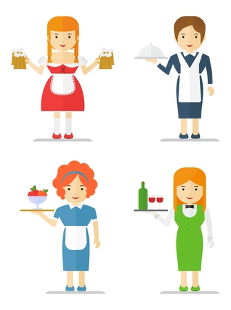 waitresses: Set waitresses women in different uniforms. Cartoon flat vector illustration. Objects isolated on a background.