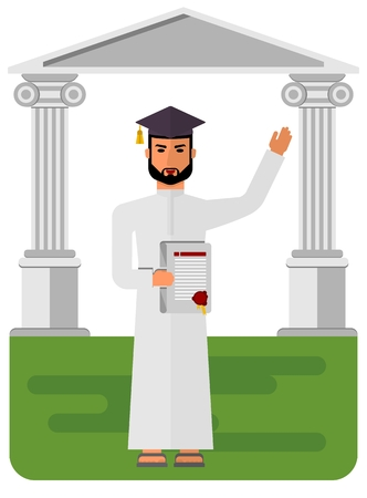 sheik: Arab students in national costume. Muslim Islamic traditions. The student received a diploma and waving. Cartoon characters icon stylish background.Cartoon design flat vector illustration