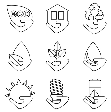 carbon emission: ?onceptual image of a green energy and pollute.Ecology icons. Ecology icons set. Ecology icons flat. Ecology icons illustration. Cartoon flat vector illustration. Objects isolated on a background.