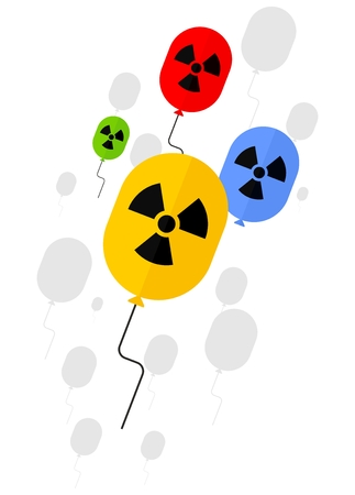 environmen: Sign of radioactive substances on balloon. Ecology design concept with air, water and soil pollution. Flat icons isolated vector illustration. Illustration