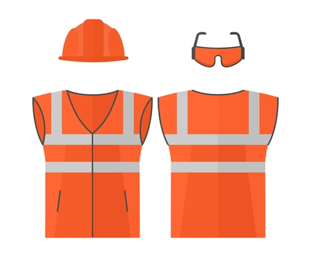 personal protective equipment: Orange high visibility vest.Conceptual image of work wear.Cartoon flat vector illustration. Objects isolated on a background.