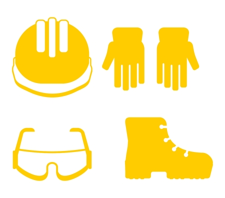 Set of protectiv work wear. Cartoon flat vector illustration. Objects isolated on a background.