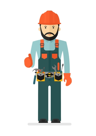 casque: Worker in protectiv overalls with tool belt. Conceptual image of work wear.Cartoon flat vector illustration. Objects isolated on a background.