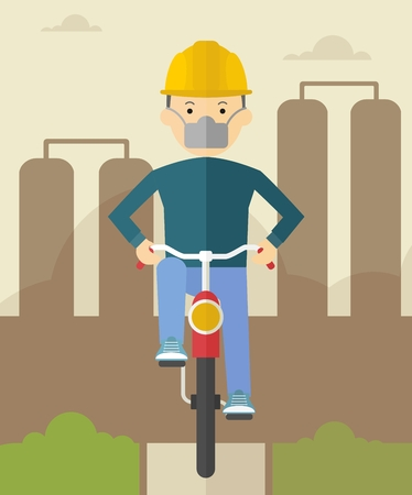 polluted: Man on bike in polluted city. ?onceptual image of clean and polluted atmosphere. Poor environmental conditions.Cartoon flat vector illustration. Objects isolated on a background.