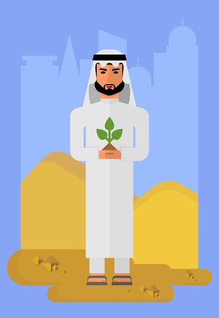 sheik: Arabic man in national costume. Muslim Islamic traditions. Businessman concerned about the environment. Cartoon characters icon stylish background.Cartoon design flat vector illustration
