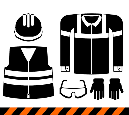 respiratory protection: Set of workwear.Cartoon flat vector illustration. Objects isolated on a background.