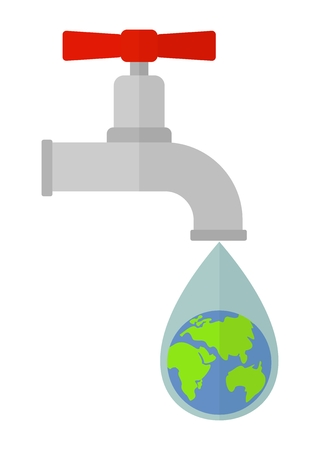 reserves: World reserves of drinking water on the planet earth.Limited resources environmental water.Ecology design concept with air, water and soil pollution.Flat icons isolated vector illustration. Illustration
