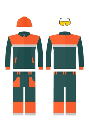 casque: Work protective suit reflecting strips. Cartoon flat vector illustration. Objects isolated on a background.