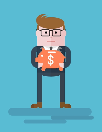 thrift: Businessman with a piggy bank. Thrift, deposit funds.Conceptual image of a businessman character. Cartoon flat vector illustration. Objects isolated on a background. Illustration