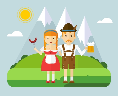 The girl and the guy in the Bavarian national costumes. Couple in the mountains on a picnic with beer and sausages. The character for Oktoberfest. Cartoon flat vector illustration. 일러스트