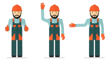personal protective equipment: Set of illustrations with workers in overalls. Conceptual image of work wear. Cartoon flat vector illustration. Objects isolated on a background.