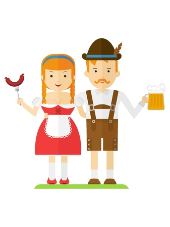 The girl and the guy in the Bavarian national costumes. Couple in the mountains on a picnic with beer and sausages. The character for Oktoberfest. Cartoon flat vector Illustration.Objects isolated. Ilustrace