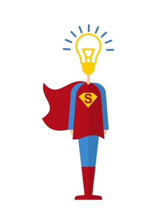 generates: Female superhero generates ideas. Cartoon flat vector illustration. Objects isolated on a background.