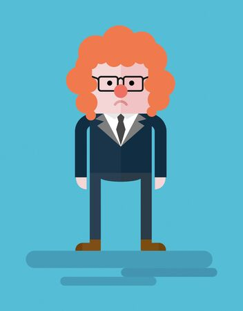 buffoon: The disappointment in yourself. Businessman clown and a buffoon. Conceptual image of a businessman character. Cartoon flat vector illustration. Objects isolated on a background.