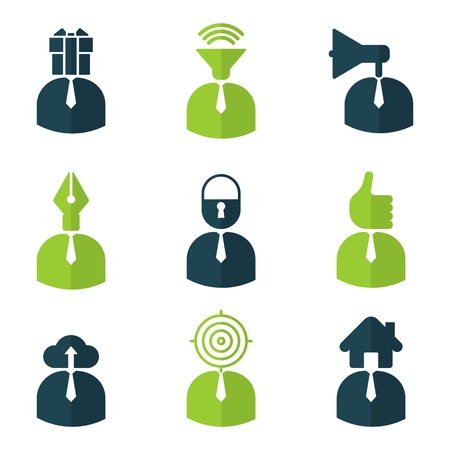 Office people icons set. Cartoon flat vector illustration. Objects isolated on a background.