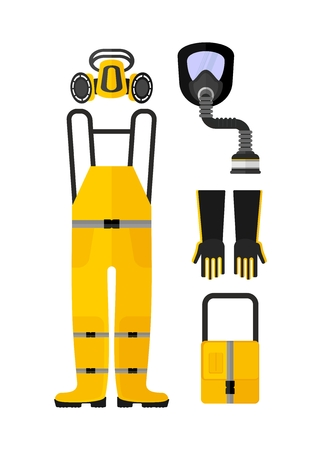 protective equipment: Set of protective equipment. Work clothes for chemical protection.Cartoon flat vector illustration. Objects isolated on a background.