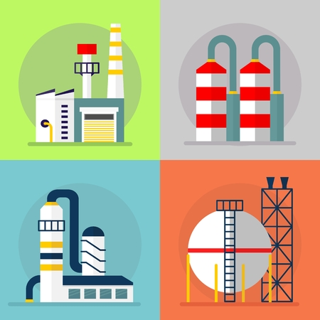 toxic waste: Building industrial plants polluting the environment. Toxic waste from oil extraction. Earth Day. Ecology design concept with air, water and soil pollution. Flat icons isolated vector illustration.