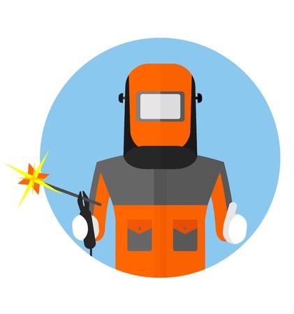 仕事で防護マスクの溶接機です。作業着のイメージ。フラットのベクトル図を漫画します。オブジェクトの背景に分離されました。