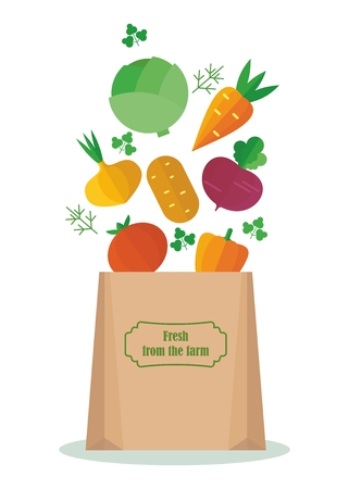 Vegetables in the kraft bag Carrots, beets, onions, cabbage. Vegetables for a vegetarian health food. Farmers and gardeners agriculture concept cartoon flat vector illustration. Objects isolated on a background.