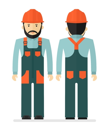 casque: Worker in protectiv overalls. Conceptual image of work wear.Cartoon flat vector illustration. Objects isolated on a background.
