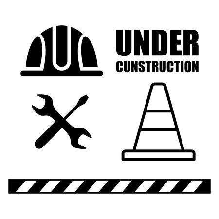 建設、トラフィック警告バリケード、コーンの下の警告サインのセットです。フラットのベクトル図を漫画します。オブジェクトの背景に分離されました。