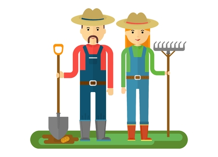 sow: Family farmer went into the field to sow. They dig up the beds, holding a rake and shovel.Farmers and gardeners agriculture concept cartoon flat vector illustration.
