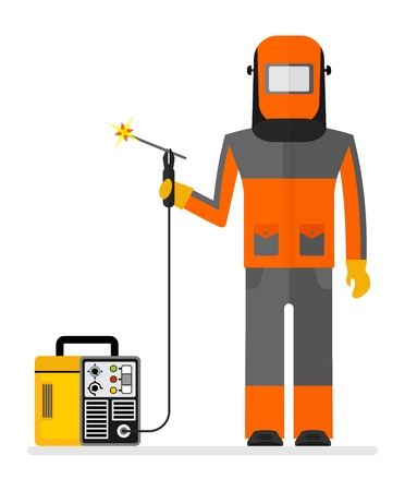 protective mask: Welder in a protective mask  working with welding machine. Conceptual image of work wear.Cartoon flat vector illustration. Objects isolated on a background.