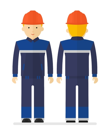 personal protective equipment: Man in work protective suit reflecting strips.Cartoon flat vector illustration. Objects isolated on a background.