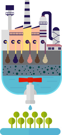 Clean drinking water of toxic industrial pollution. Multistage filter for dirty water.Ecology design concept with air, water and soil pollution. Flat icons isolated vector illustration.