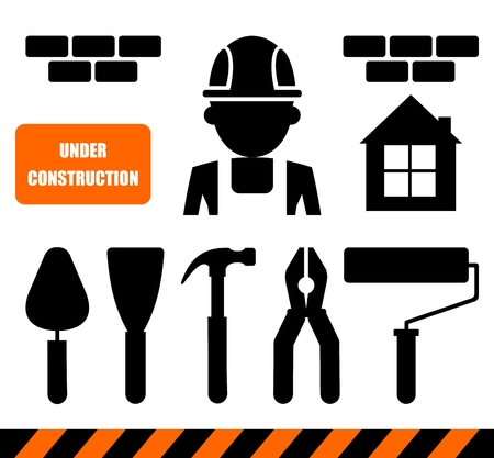 protective clothing: Set of construction tools.Cartoon flat vector illustration. Objects isolated on a background. Illustration