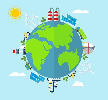 landfill: Solar energy, wind energy. Dirty city, factories, air pollution, landfill. Earth Day. Ecology design concept with air, water and soil pollution. Flat icons isolated vector illustration.
